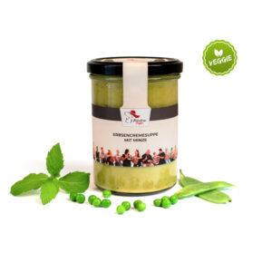 Leckere Erbsencremesuppe mit Minze von Fräulein Suppe im Glas